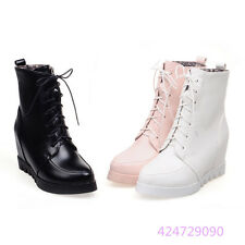 Womens Ladies Mid Calf Boots Lace up Wedge Heels Shoes Boots AU All Size Y1263