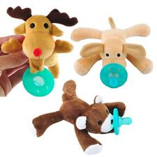 Infant Baby Newborn Silicone Pacifiers w/ Cuddly Plush Animal Baby Nipples Love-