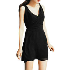 Women Crossover V Neck Sleeveless Waist String Sexy Tunic Dress