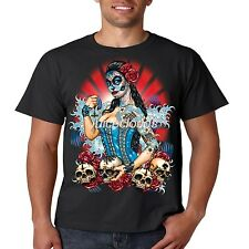 Day Of The Dead T Shirt Sugar Skull Pinup Girl Tattoo