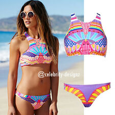 sw66 Celebrity Fashion Trendy Tribal Print Halter Top Low-rise Bikini Swimwear