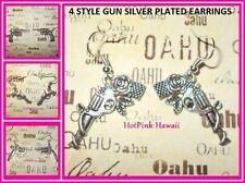 4 New Revolver Gun Rose Large Funky Punk Rock Cowgirl Silver Plated Earrings USA