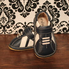 Navy Blue w White Boys Squeaky Sneaker Shoes, Sizes 3, 4, 5, 8, 9