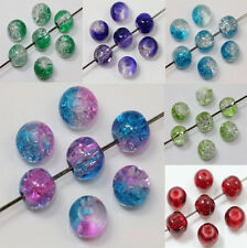 50Pcs 6/8/10mm Fashion Crackle Art Crystal Glass Round Spacer Beads Crafts DIY