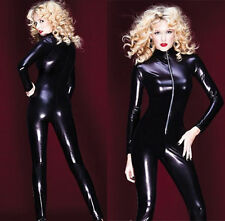 Women Shiny Wetlook Bodysuit Catsuit Jumpsuits Rompers Cosplay Costume M-L