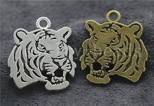 Lot 3/10/50pcs Tibetan Silver two-sided Tiger head Charms Pendant DIY 27x24mm