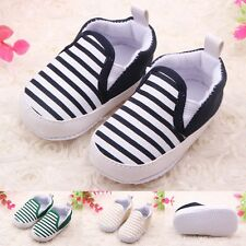 Toddler Baby Boy Shoes Crib Shoes Soft Sole Casual Striped Shoes Size 0-18 Month