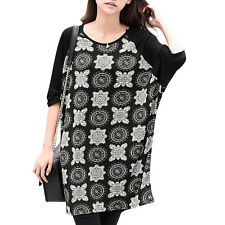 Ladies Short Batwing Sleeves Round Neck Novelty Print Loose Tunic Tops