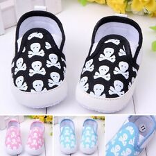 Baby Boy Girl Soft Sole Crib Shoes Skull Print Infant Toddler Sneakers 1-18M