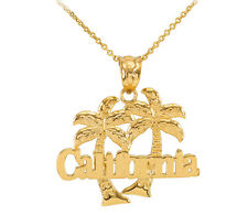 Yellow 14k Gold California Palm Tree Pendant Necklace