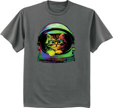 Space cat t-shirt Men's dark gray hipster shirt funny cool spaced out helmet tee