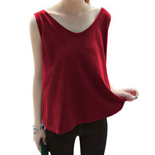 Woman Scoop Neck Sleeveless Loose Fit Casual Pullover Top