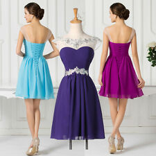HOMECOMING~Chiffon Bridesmaids Evening Formal Cocktail Short Dress Gown,BLUE,RED