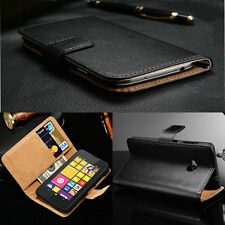 Genuine Real Leather Magnetic Flip Stand Wallet Skin Case Cover For Nokia Lumia