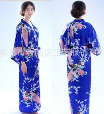 Chinese Women's silk long style Kimono Robe Gown nightrobe Sz: S M L XL 2XL 3XL