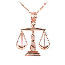 Rose 10k Gold Scales of Justice Pendant Necklace