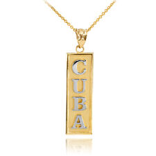 Two Tone 10k Solid Yellow / White Gold Gold CUBA Pendant Necklace