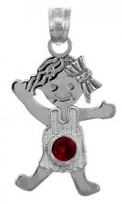 White Gold July Birthstone Ruby Red Round CZ Baby Girl Charm Pendant