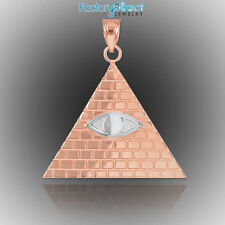 Two-Tone Rose Gold Egyptian Pyramid with All-Seeing Eye Pendant