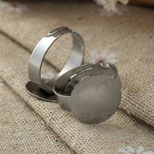 20/100pcs 1cm Silver Tone Adjustable Flat Ring Pad Base Blanks Jewelry Findings