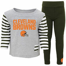 Cleveland Browns Toddler Girls Brown/Gray Little Big Girl Pant Set