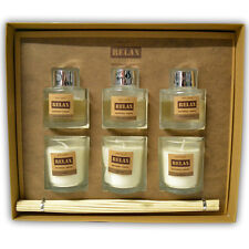 3PC CANDLE OIL DIFFUSER GIFT SET HOME FRAGRANCE REED STICKS AROMATHERAPY BOTTLE