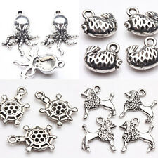 New 10Pcs Creative Tibetan Silver Various Animals Charms Pendant Jewelry Making