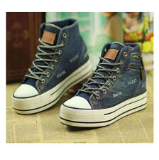 Cowboy Canvas Zipper High-top Heavy-bottomed Increased Within Platform Shoes