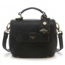 Samantha Thavasa Vega One Handle HandBag With Bow Small Shoulder Bag Black Brown