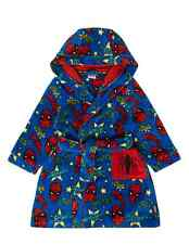 Boys Marvel Spider Man Fleece Hooded Dressing Gown Spiderman Robe Age 2-12 Years
