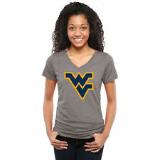 West Virginia Mountaineers Womens Classic Primary Tri-Blend V-Neck T-Shirt - Ash