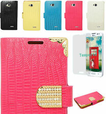 Tempered Glass+Croc Leather Wallet Case Cover For LG Optimus L70 MS323 MetroPCs