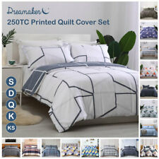 Printed Doona Quilt Cover Set Egyptian Cotton Bedding Set Single Queen King