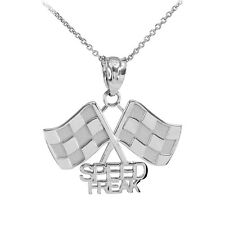 Fine 10k White Gold Racing Checkered Flags with Speed Freak Charm Finish Line!