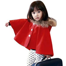 Girls Button Closure Plush Hooded Worsted Long Sleeve Cape
