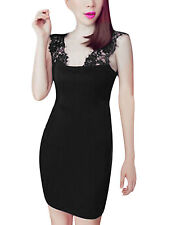 Pullover Sexy Lace Panel Shoulder Strap Stretch Dress for Lady