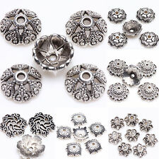 New 15/25/100Pcs Tibetan Silver Flower Pattern Loose Spacer Bead Caps Finding