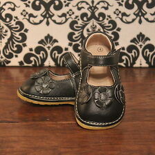 Black Three Flower Girls Mary Jane Squeaky Shoes, Sizes 3 4 5 6 7 8 9