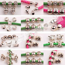 20-50Pcs Crafts Rose Gold Big Hole Skull/Owl Loose Spacer Beads Jewelry Makings