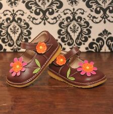 Brown Girls Mary Jane Squeaky Shoes with Pink Flower, Sizes 3 4 5 6 7 8 9