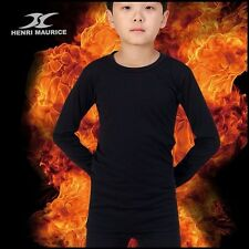 Kids Thermal Underwear Base Layer Compression Shirt Long Sleeve Winter Black CLK