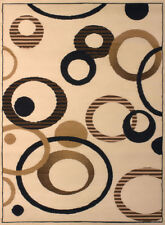 Ivory Contemporary Circles Area Rug Dots Rings Hoops Loops Polypropylene Carpet