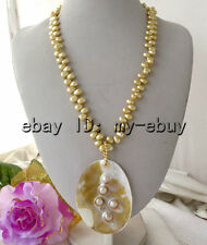 Golden Rice Freshwater Pearl Necklace & Mother Of Pearl Shell Pendant 20""