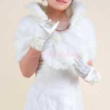 Faux Fur Ivory Wedding Dress Wrap Bridal Bolero Jacket Bridesmaid Shrug Coat S-L