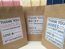 PERSONALISED WEDDING BROWN KRAFT THANK YOU GIFT BAG - with tissue paper