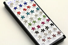 20 Pairs Lots Wholesale Women Silver Tone Colorful Crystal Flower Stud Earring