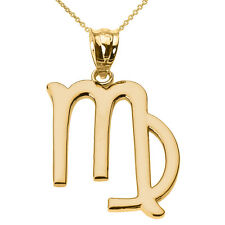Fine 14k Yellow Gold Virgo September Zodiac Sign Horoscope Pendant Necklace