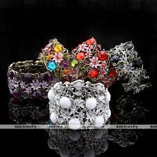 Vintage Bronze Rhinestone Colors Resin Flower Faceted Bead Cuff Bracelet Bangle