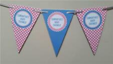 D1 Personalised Bunting Pink Blue Baby Shower Party Banner Garland POLKA DOTS