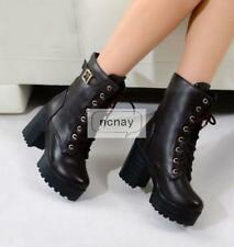 Punk Style Womens Chunky Heel Shoes Lace Up Combat Lace Ups Platform Boots Shoes